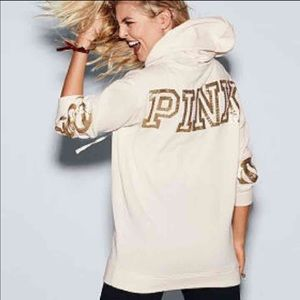 NWT PINK XS Campus bling Pullover